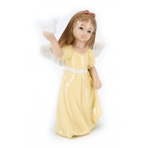 Ангел фарфоровый с голубем (в желтом платье)
