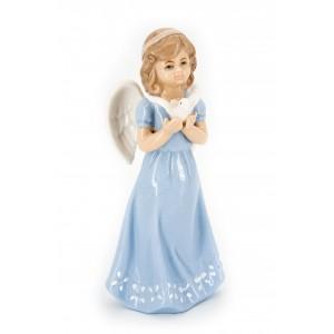 Ангел фарфоровый с голубем (в голубом платье)