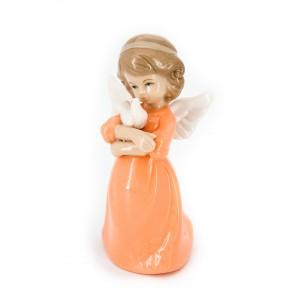 Ангел фарфоровый с голубем (в оранжевом платье)
