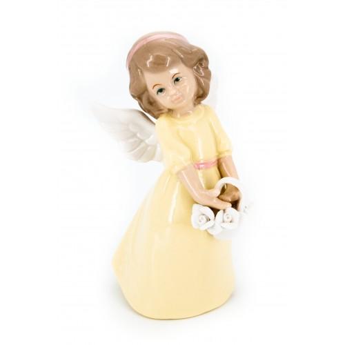 Ангел фарфоровый с цветами (в желтом платье)