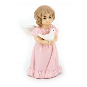 Ангел фарфоровый декоративный с голубем (в розовом платье)